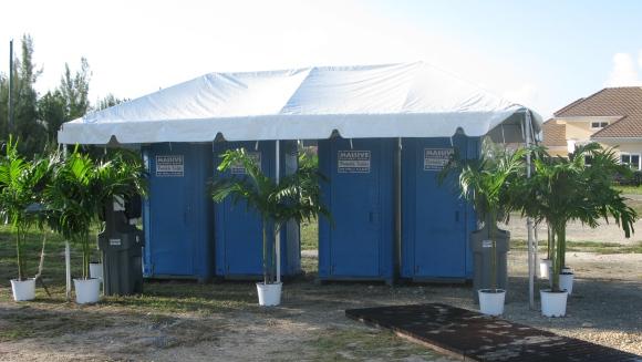 Toilets under tent